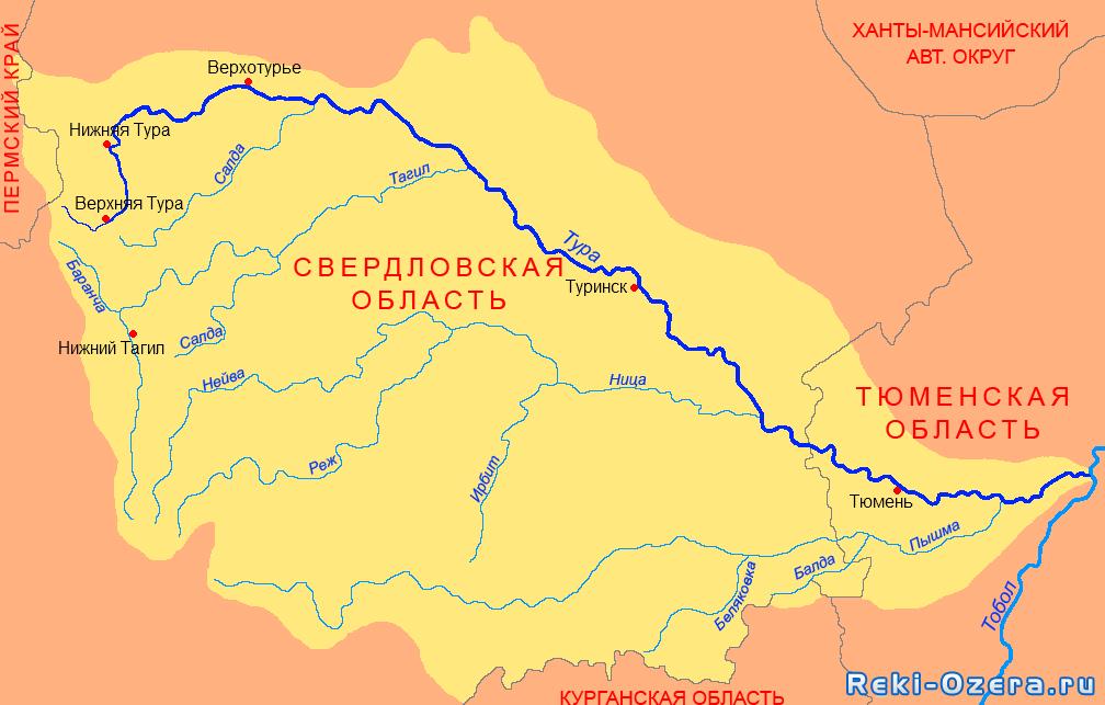 Река Тура. Карта